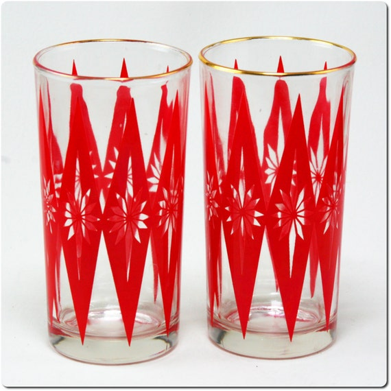 Set of Two Mid Century Atomic Star Drinking Glasses