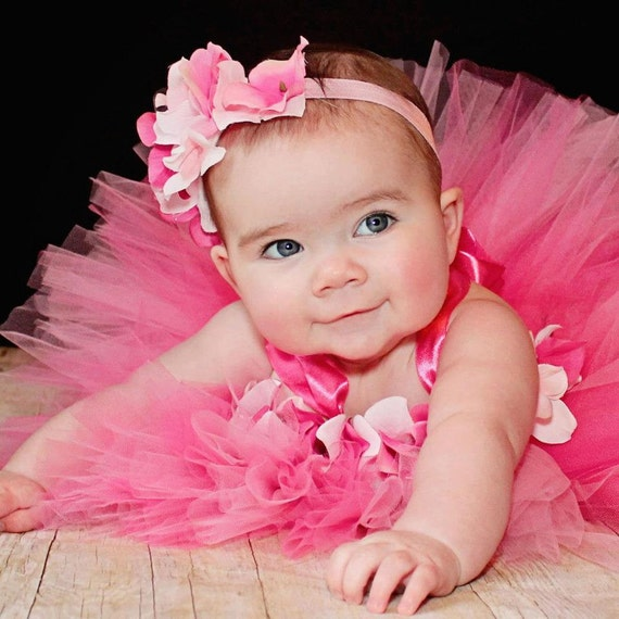 Pink Tutu Dress, Baby Tutu Dress, Flower Girl Dress, Newborn Tutu Up to 12 Months