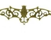 5 Antique Bronze Ornate Bat Charms Connectors Link
