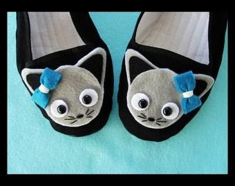 Gray Cat Black Mary Jane Shoes Flats (Ladies sizes 4, 5, 6, 7, 8, 9, 10, 11) Kawaii kitty Animal Anime Cosplay