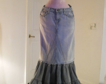 Belle Sirène mermaid jean skirt Seven for All Mankind ruffled layered altered bohemian Renaissance Denim Couture Made to Order