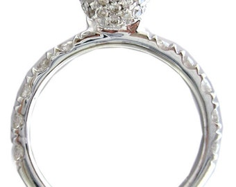 14k white gold round cut diamond engagement ring art deco 2.05ctw