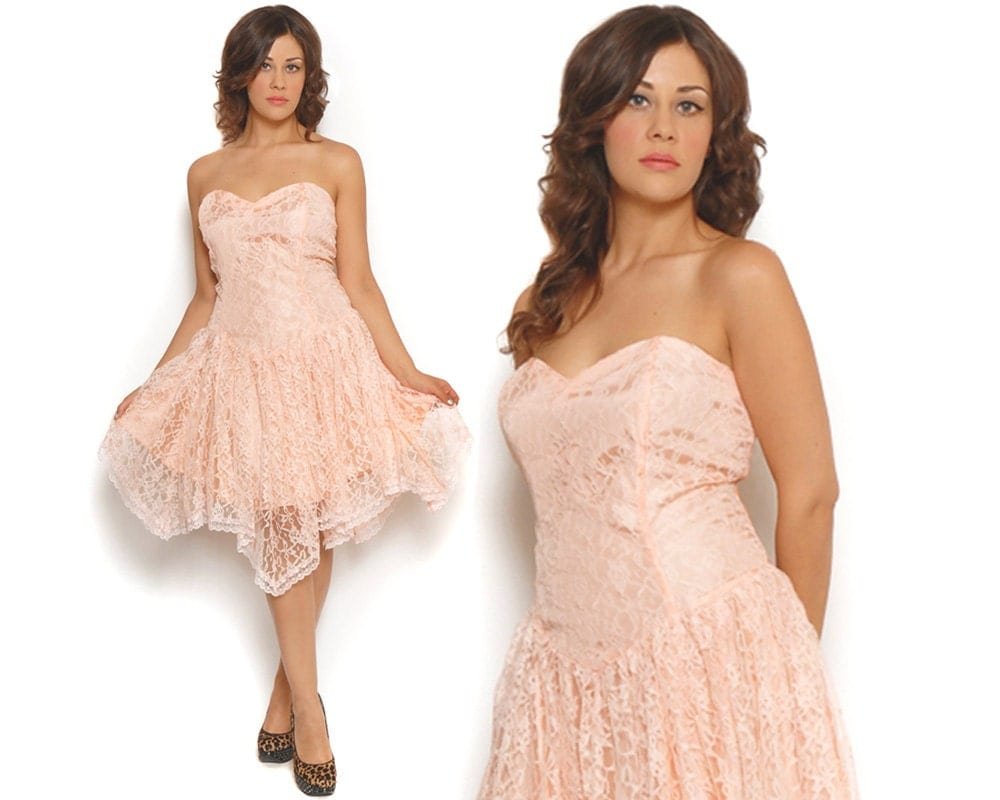 80s Prom Dress Pastel Pink Lace Strapless Sweetheart Party