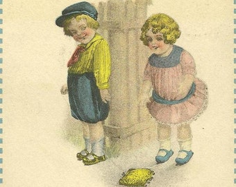 Charming Solomon Brothers Vintage Postcard Boy Teases Girl - All Things Come To Him Who Waits