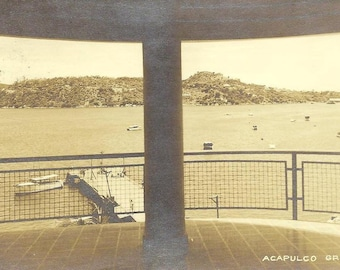 Acapulco GRO - RPPC beautiful scenic black and white view of harbor on vintage postcard