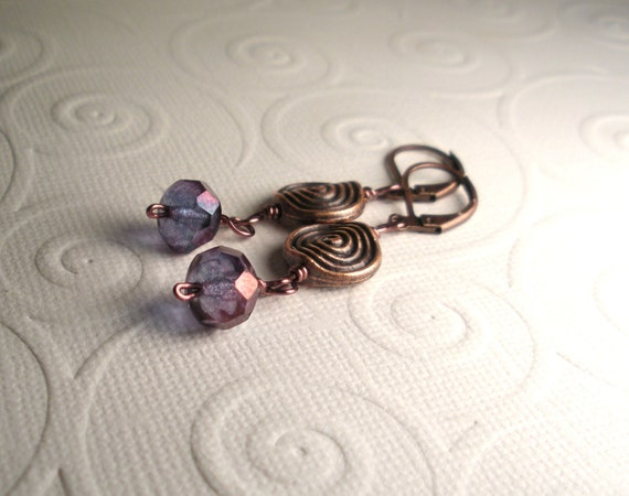 Purple Blue Czech Glass Antique Copper Earrings-MADE TO ORDER