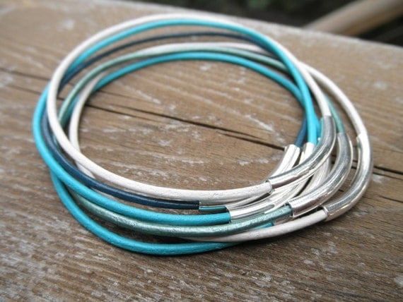 Set of 7 - Sea Glass Colored Leather Bangles with Silver Tube Beads