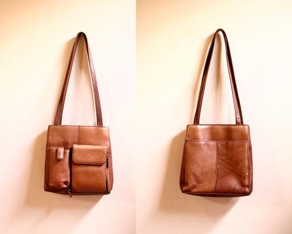 Vintage Cognac Leather Purse // Multi Compartment Shoulder Bag