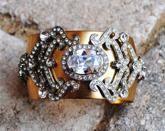 Brass Crystal Trimmed Cuff Bracelet