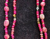 RESERVED! Ruby Beads with Watermelon Tourmaline Necklace