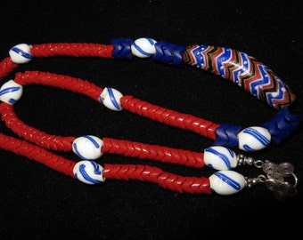 Red, White, and Blue Trade Beads Necklace