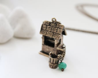 I Wish. I Hope. Vintage Bronze Wishing Well Long Necklace with Milky Jade. Wedding Gift. Gift For Her (VNL-56)