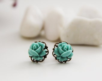 Vintage Petite Rose Post Earrings. Turquoise Blue (VER-68)