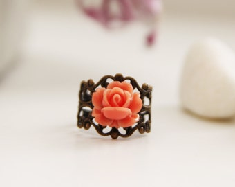 Romantic Coral Red Rose on  Vintage Filigree Ring (VRG-46)