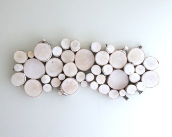 white birch forest topography - organic wood wall art - 26 x 10 -made to order