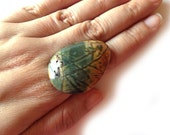 Green & Brown Jasper Stone Stone Ring - Cocktail Ring - Bohemian Jewelry - TesoroDelSol