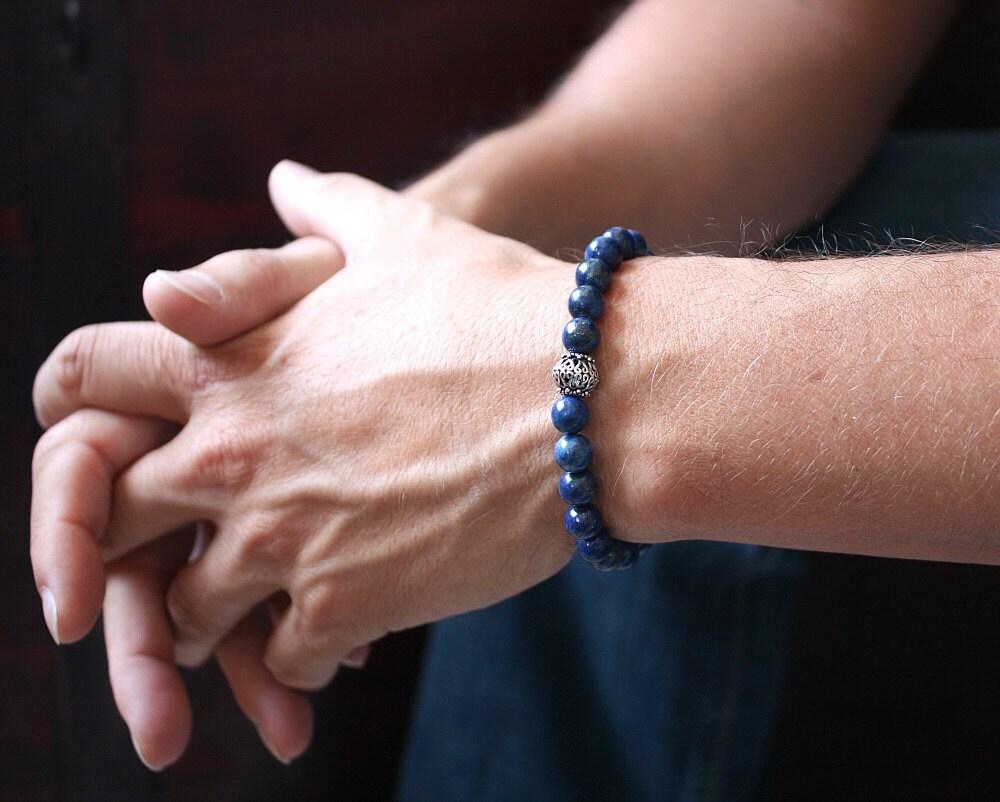 men 39 s bracelet lapis lazuli stone bali sterling silver. Black Bedroom Furniture Sets. Home Design Ideas
