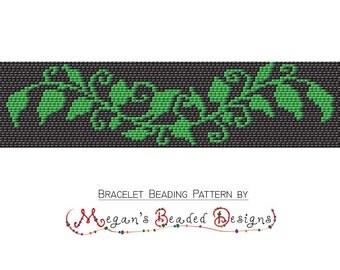 2 Drop Peyote Bracelet Beading Pattern - Green Vine of Leaves PDF File