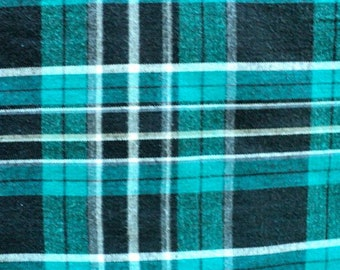 Dark Green and Black Checkered Flannel Fabric - 1 yard - More Available
