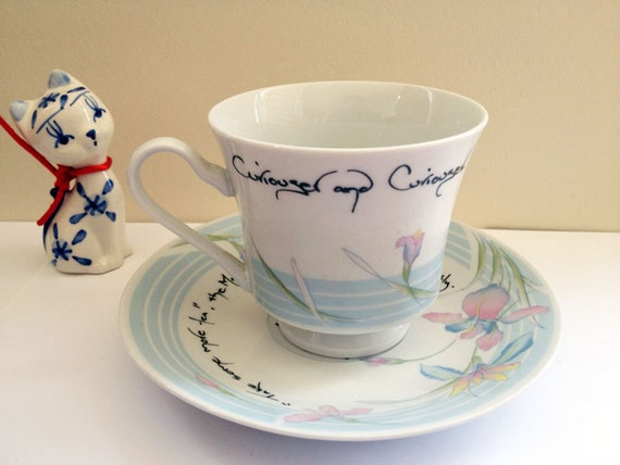 Alice in Wonderland Tea Party Quote Vintage Teacup and Saucer Mad Hatter