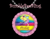 Children's Jewelry Personalized Rainbow Fairy Custom Pendant Necklace or Zipper Pull for Kids