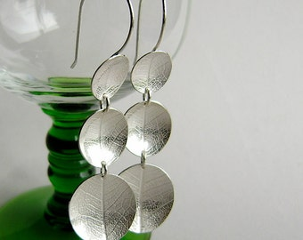 Silver leaf three large dish hook earrings