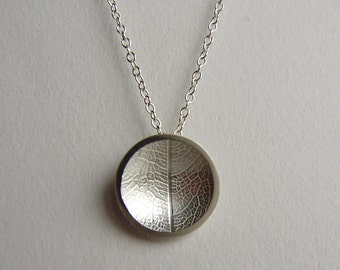 Silver leaf concave dome necklace