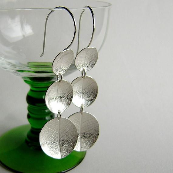 Silver leaf three large dish hook earrings