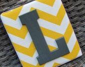 Wall Letters  6x7, Chevron Letters, Painted Letters, Yellow Chevron, Gray Chevron, Personalized Nursery Decor, Chevron Nursery
