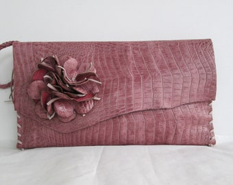 pink leather handbag wristlet clutch in faux alligator with  flower by Tuscada. Ready to ship.