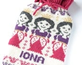 Personalised Knitted Princess Girls Pink Hot Water Bottle Cozy/ Cosy