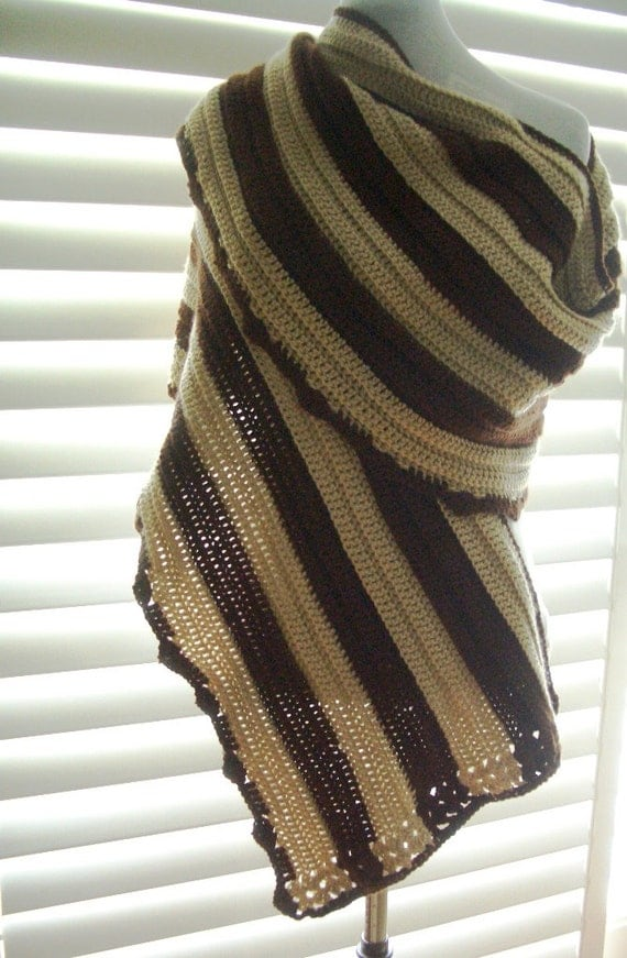 Free Shipping - Brown and Tan Super Soft Wrap Scarf Shawl with Horseshoe Charm for the Horse Lover or Custom Charm