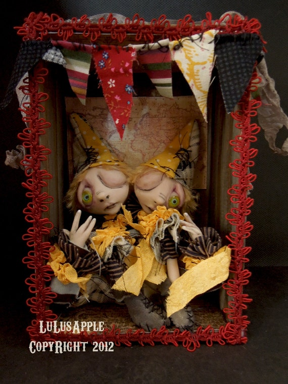 Art Doll Circus Sideshow Conjoined twins Clown doll Hanging shadowbox OOAK Emile and Leo RESERVED