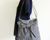 NEW - Pretty Bow Bag in Dark Gray With  Adjustable Strap ( Ready To Ship)