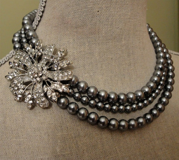 Mother of the Bride Pearl Necklace Set  3 strands of grey glass pearls rhinestone brooch is adjustable size wedding jewelry set gift