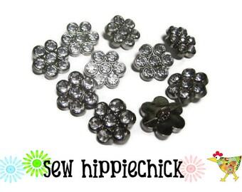 10 Clear Flower Rhinestone Buttons 16mm 16 mm