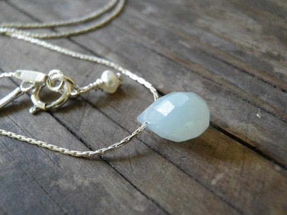 Sale Tiny Dot Teal Amazonite Blue Teardrop Necklace, Threaded Sterling Silver Necklace, Minimalist Pendant, Beautiful Delicate, Gift For Her