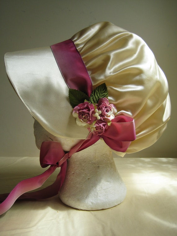 Regency Bonnet. Cream, Pink Silk Ribbons and Roses. READY TO SHIP