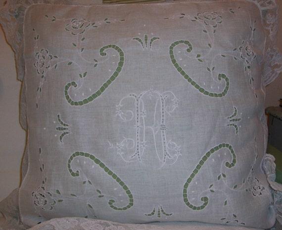 "ANTIQUE Whitework Batiste Linen ""K"" Monogram, Cutwork, Silk Embroidery & Lace PILLOW Sham/Cover"