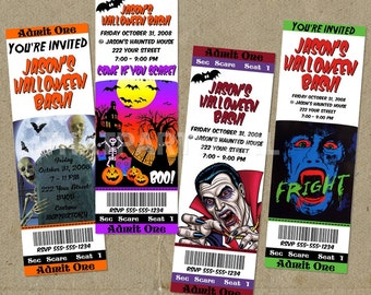 Halloween Party Ticket Style Invitations Digital Delivery - U Print
