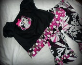 Made to Order Fall Owls Short  Sleeve Peasant Style Top Double Ruffled Pants Sizes 6mo, 12mo. 2T, 3T, 4T, 5T