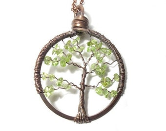 Tree of Life Antiqued Copper Necklace in Peridot.