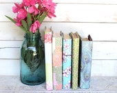 Vintage Books for your Wedding or shelf , Decorative Paper Covered Books Aqua, Coral, Pink, Green CUSTOMIZE Peacock Outdoor Floral