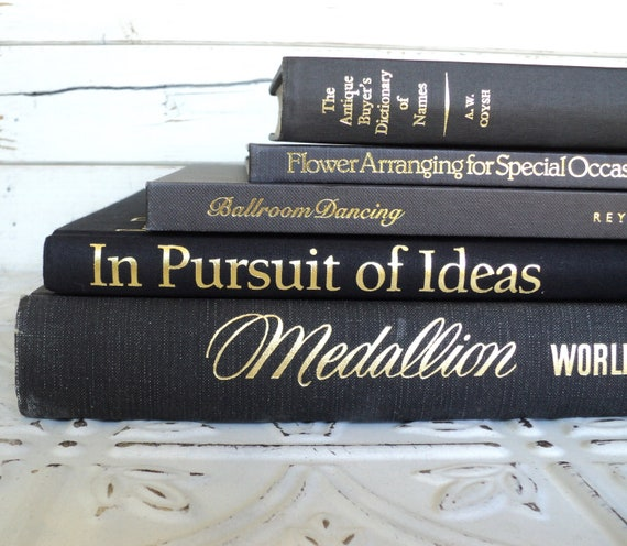 Black & Gold Statement Instant Library Book Collection By Color Vintage Decorative Books Photography Props