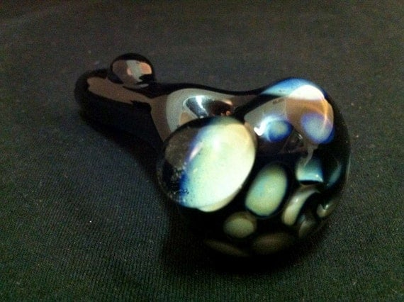 Sale - Black Glass Pipe Silver Fumed Honeycomb Vortex Tobacco Spoon Pipe