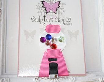 Sculpture Clippies's Exclusive Design.   Gumball Candy Machine Sculpture Ribbon Bow. Free Ship Promo.