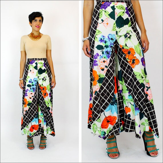 1970s palazzo bell bottoms S / mix print high waist poly pants