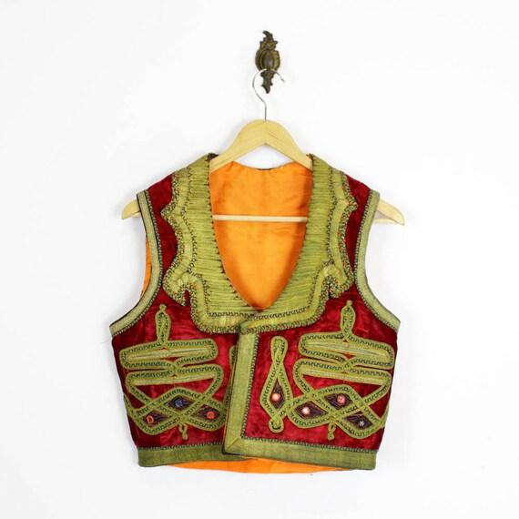 gypsy vest / embroidered velvet mirror embellished cropped vest