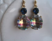 Vintage Iris Rainbow and Montana Sapphire Blue Glass Earrings