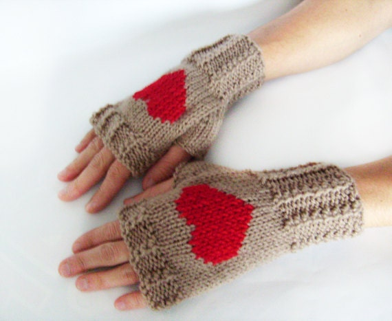 Red Heart Knitting Pattern Mittens : Heart Fingerless Mittens Knit Fingerless Gloves Light Brown